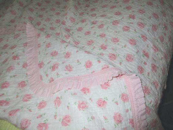 Vintage Softest Pink Roses & Ruffle On White Cottage Chic Quilt,Blanket,Throw  | eBay