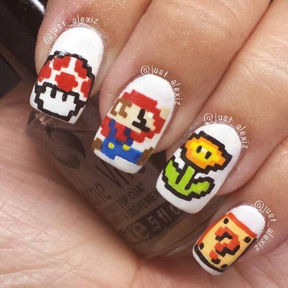 3 Bit Mario Nail Art