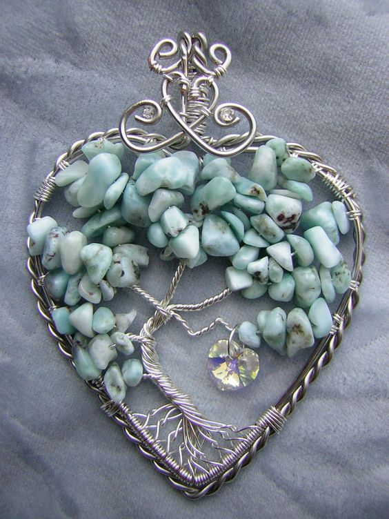 Larimar Heart-Shaped Tree of Life Wire by RachaelsWireGarden (this one has sold but she has other pretty ones)