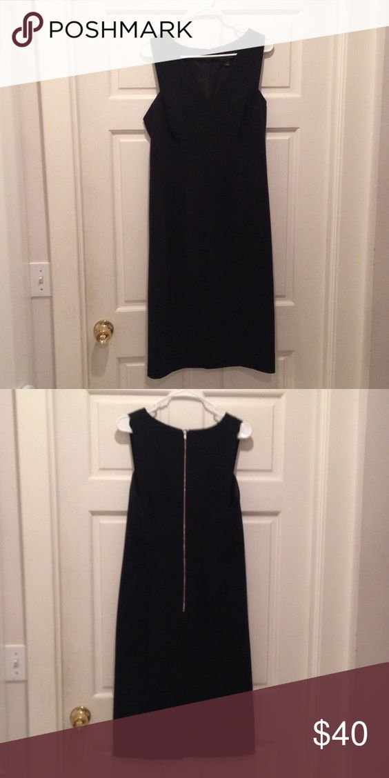 Black Dress from Banana Republic - 12 Black structured dress from banana republic, gold zipper in the back with a small slit, long length, only worn once, size 12 Banana Republic Dresses
