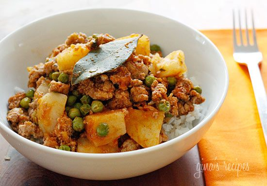 Ground Turkey with Potatoes and Spring Peas - We served this over rice and they portions were extremely generous.