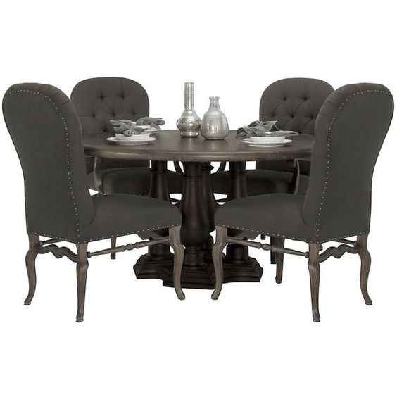 Bernhardt Belgian Oak 5pc Round Dining Room Set with Button Tufted... ($999) ❤ liked on Polyvore featuring home, furniture, tables, dining, dining tables, round dining sets, round table and chairs, two tone furniture, fabric furniture i round oak table and chairs