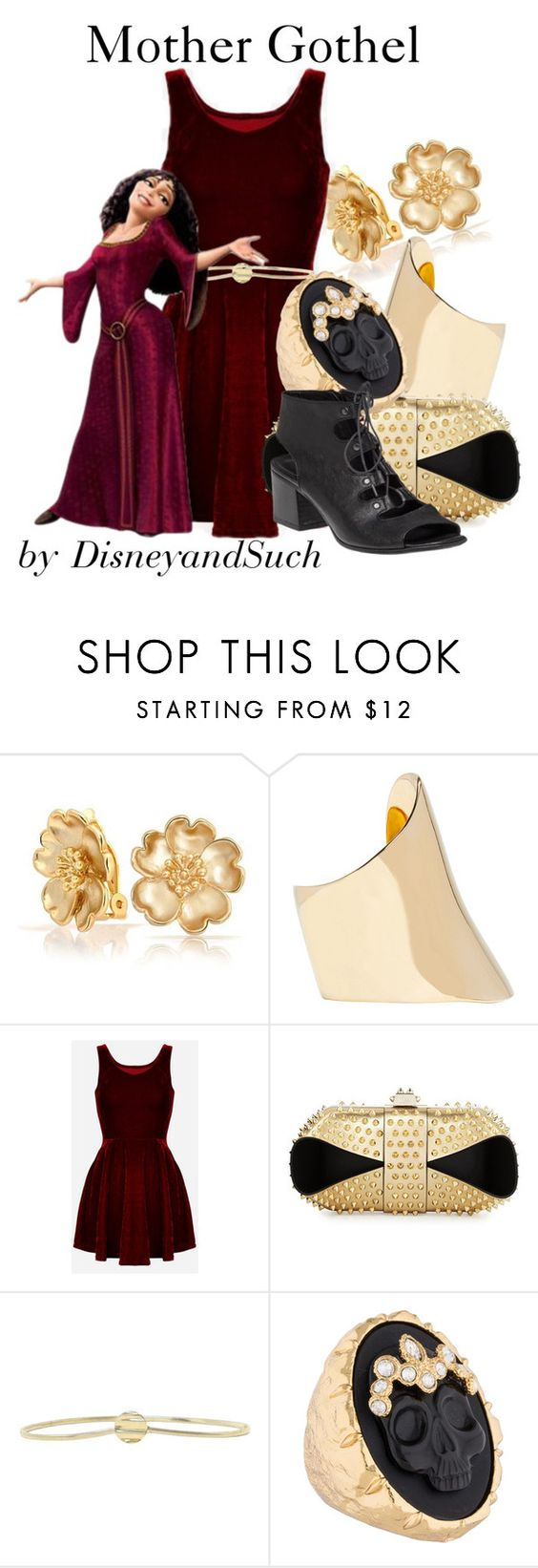 """""""Mother Gothel"""" by disneyandsuch ❤ liked on Polyvore featuring Bling Jewelry, Maiyet, Christian Louboutin, Alexis Bittar, 275 Central, disney, tangled and WhereIsMySuperSuit"""