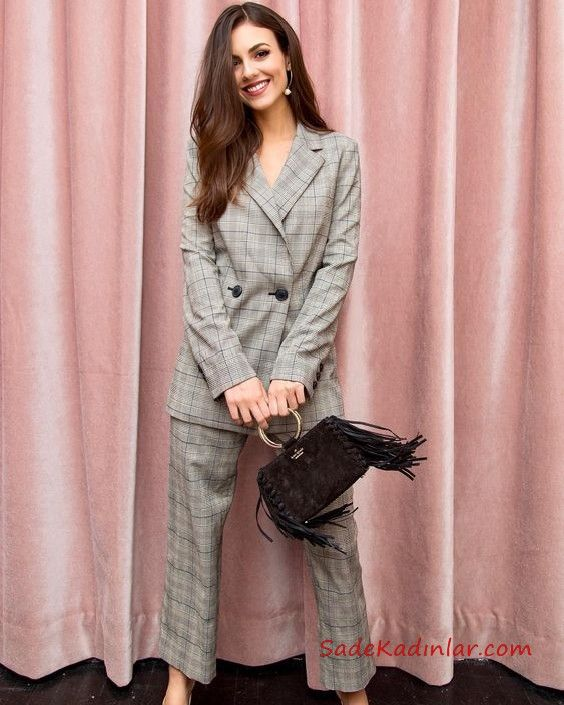 2020 Bayan Ceket Pantolon Kombinleri Gri Pantolon Ve Ceket Ekose Desenli Takim Victoria Justice Moda Stilleri Ekose