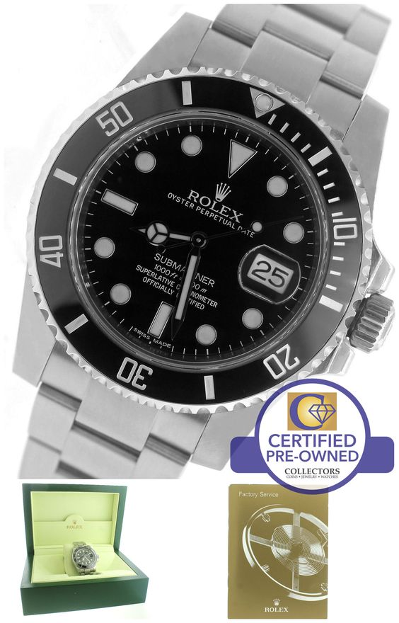Men's Rolex Submariner Date 116610 LN Stainless Black Dive Ceramic 40mm Watch