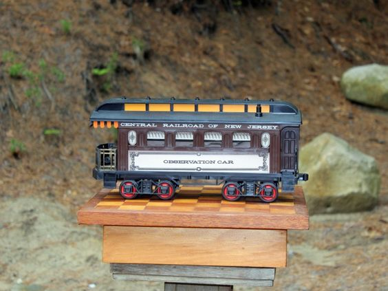 SOLD! Vintage Jim Beam Bourbon Whiskey bottle / decanter in the shape of an antique railroad observation car.