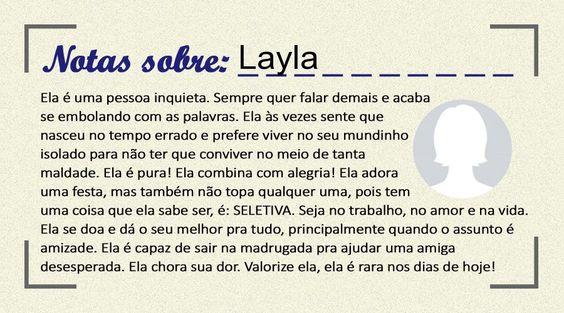 Essa é sua nota, Layla...