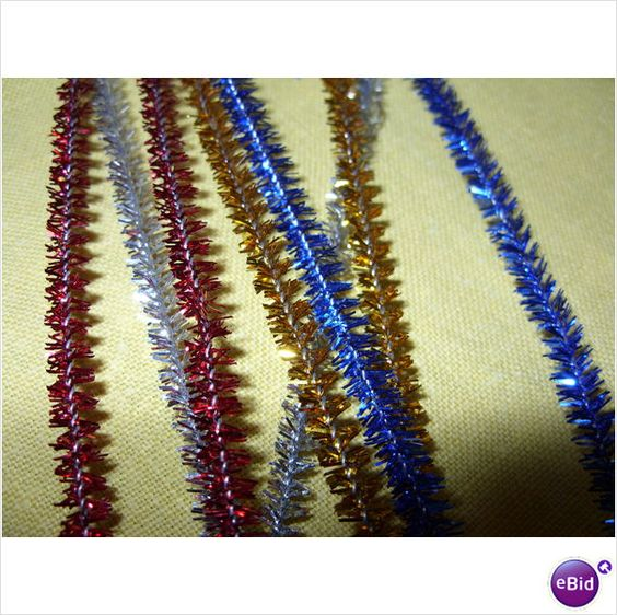 """10 x Tinsel/Glittery Chenille 12"""" Stems Mixed Colour Red, Gold, Silver And Blue"""