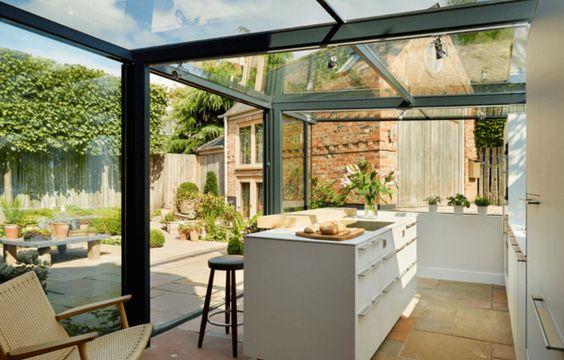 Beim Hausbau Glasanbau für die Küche einplanen Aber die Decken - rollos f r die k che