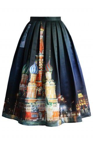 Saint Basil's Night Pleated Midi Skirt - Bottoms - Retro, Indie and Unique Fashion
