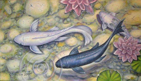 Koi family bild kunst malerei fische geschenk von for Koi mit goldfischen