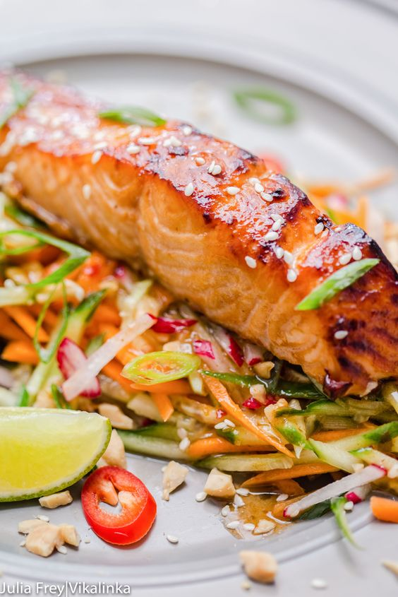 Asian-style salmon with carrot and cucumber slaw in peanut dressing