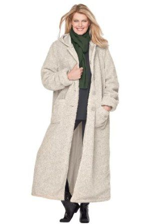 Woman Within Plus Size Petite Hooded Berber Coat (Oatmeal2X