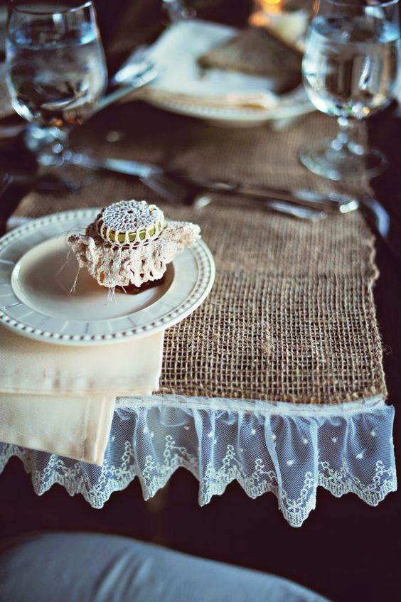 Handmade Burlap Runner with Ivory Lace Trim by LamourBelle on Etsy, $35.00