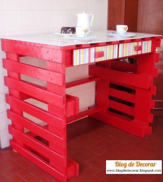 Bureau en palette de bois crafts pinterest bureaus - Bureau en palette de bois ...