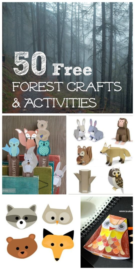 FREE printable forest crafts and activities for kids -- fun ways to learn about woodland animals!