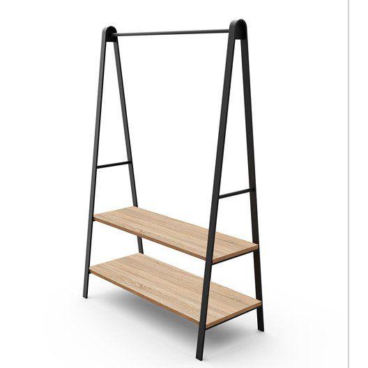 2 1 Portant et noir métal et barre penderie de bois étagères edQrCWxBo