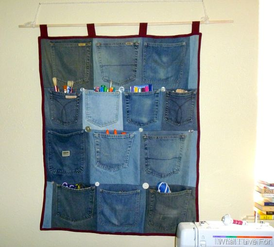 Back pocket organizer- a great way to use up old worn out jeans