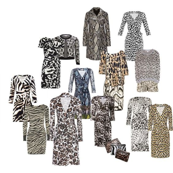 """""""Diane von Furstenberg Animal prints"""" - I like it that there is both the cone shell pattern and butterfly wing pattern as animal prints - which they are, but too often ignored. """"Animal prints"""" is so much more than just cat spots."""