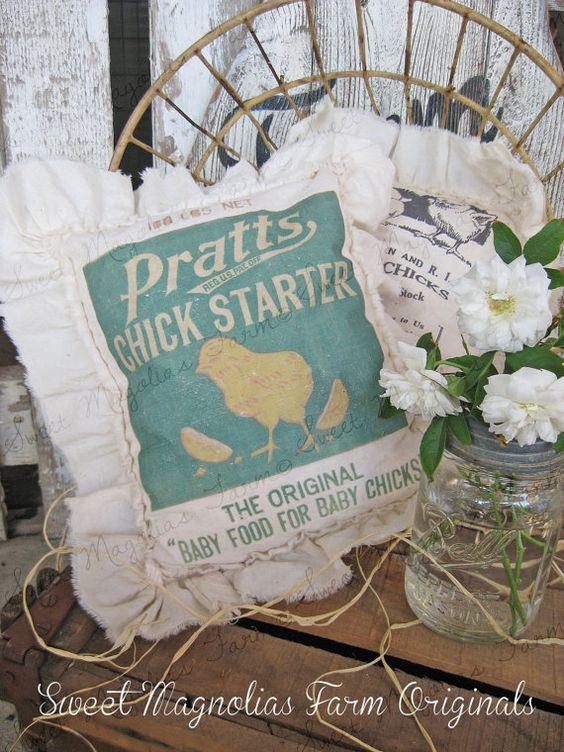 Vintage Style Farmhouse Feedsack Sawdust by SweetMagnoliasFarm, $18.00