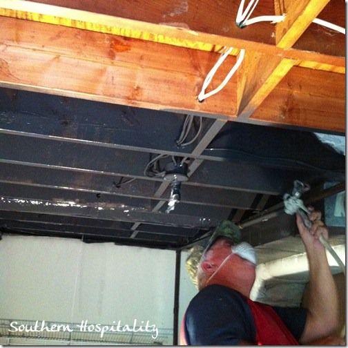 Basement ceilings open basement and basements on pinterest for Black ceiling basement ideas