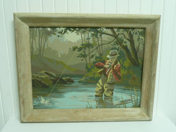Fishing print for nursery - 1960s Paint By Number Fisherman Wood Frame by NewLifeVintageRVs, $62.00