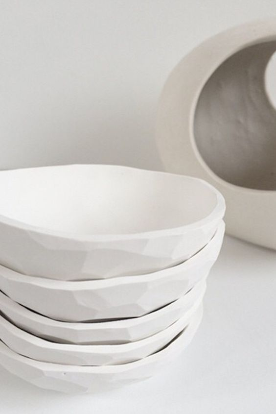 Faceted Dish (White) – Home Apparel