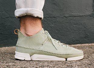 Trigenic Flex, baskets en cuir vert pâle pour Homme   Clarks.fr