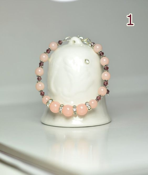 Dull peach beaded bracelet Gift for her women's bracelet girlfriend gift