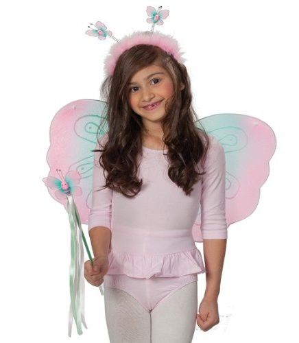 Kostüm Schmetterling, Flügel und Haarreif in Rosa-Blau