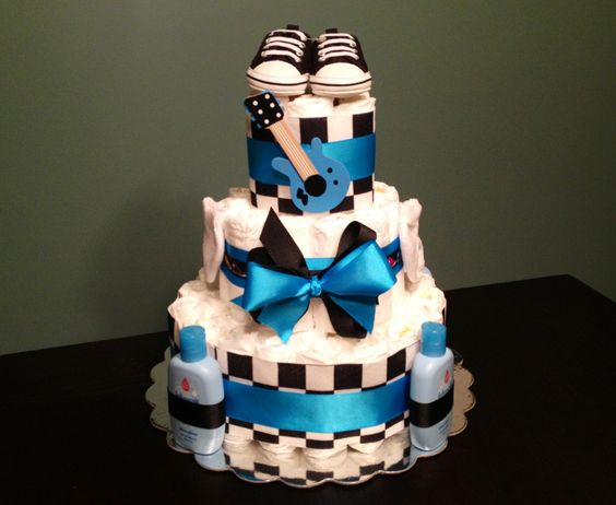 Punk Rock Baby Shower Ideas | CAKE Rock And Roll PUNK Guitar Theme Bright Blue Black Baby Shower ...