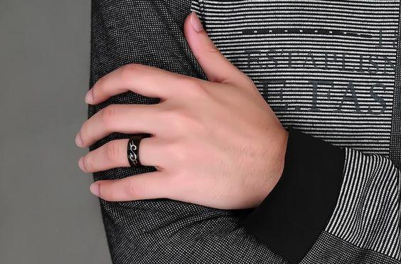 Men Black Rings Stainless Steel Detachable Dragon Pattern Charm Mens Ring