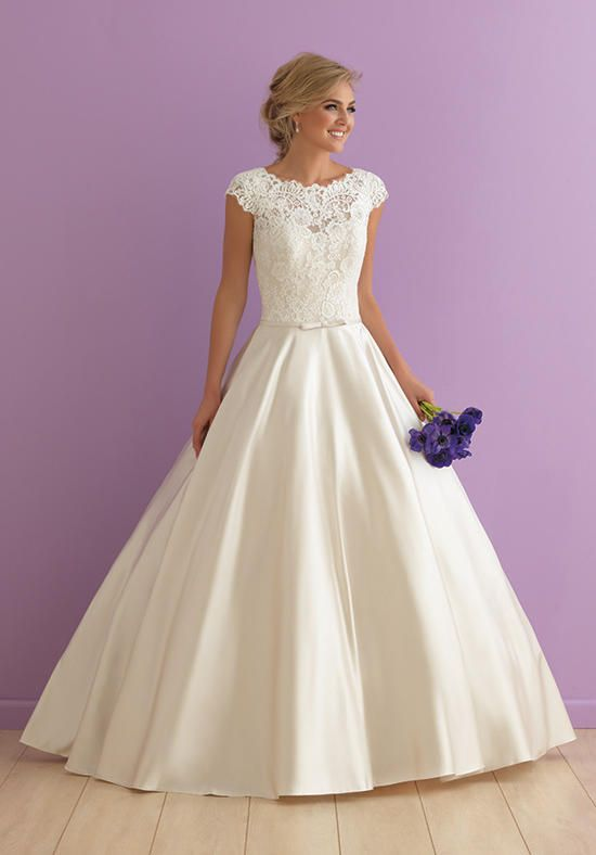 Cap sleeved ballgown pairs with lace and satin | Allure Romance | https://www.theknot.com/fashion/2914-allure-romance-wedding-dress