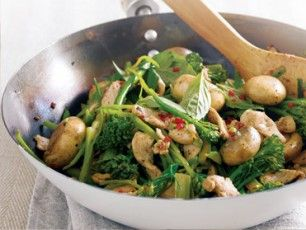 Mushroom, Chicken & Asian Green Stir-Fry - will make again but follow the directions better next time.
