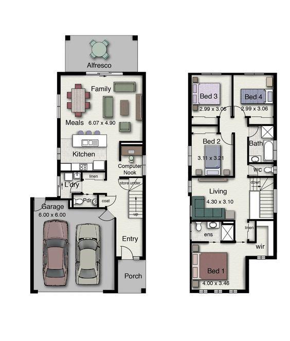 Duplex 4 Quartos Design Inteligente Adequado Para Pequenos Blocos De Terra Narrow House Plans Town House Floor Plan House Plans Australia