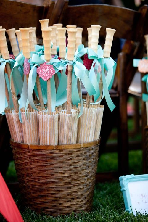 Garden Wedding Parasols buck placed at the beginning of aisle.  Guest can choose to pick up one if needed.