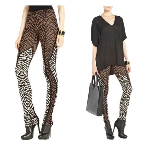 Flash Sale BCBG Geometric Jacquard Leggings Gently worn, soft and versatile leggings. Mid-rise waist. Formfitting. Allover geometric jacquard knit. Cotton, Silk. The leggings have minor pilling in the inner thigh (thick thighs save lives) and at the ankles ((pictured)). pp, trades, holds or silly questions. Don't forget to bundle for extra savings. Cheers! BCBGMaxAzria Pants Leggings