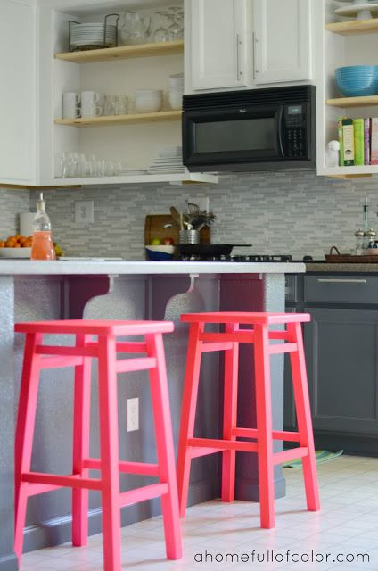 A Home Full Of Color: Neon pink bar stools. I kind of love it :)