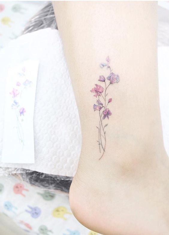 Sweet pea tattoo. Small tattoos are perfect for girls and women alike. Delicate and feminine, I promise these 28 blissfully small tattoos will not disappoint. Enjoy!: