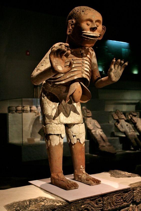 Ancient Aztec statue of Mictlantecuhtli (Aztec god of the dead)