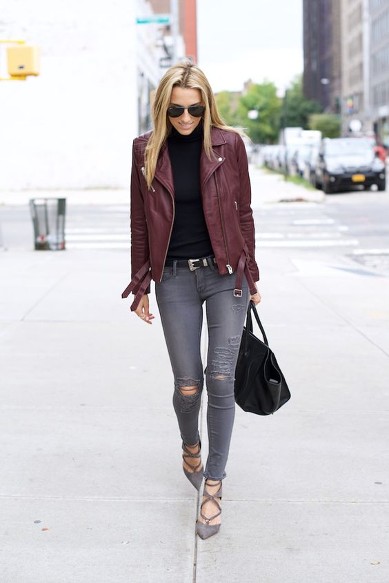 IRO Burgundy Leather Jacket, Schutz Heels, Celine Bag, Grey ripped jeans:
