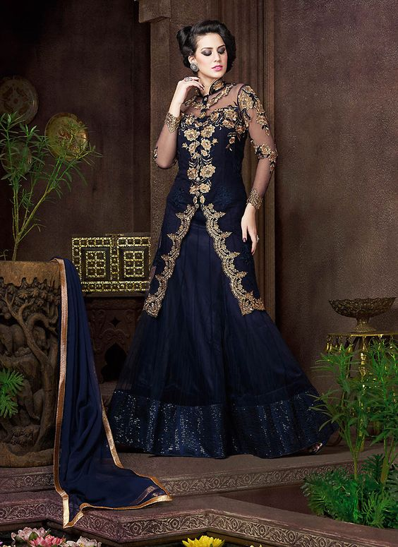 Achkan Style Incredible Salwar Kameez in Blue Color & Net Fabric