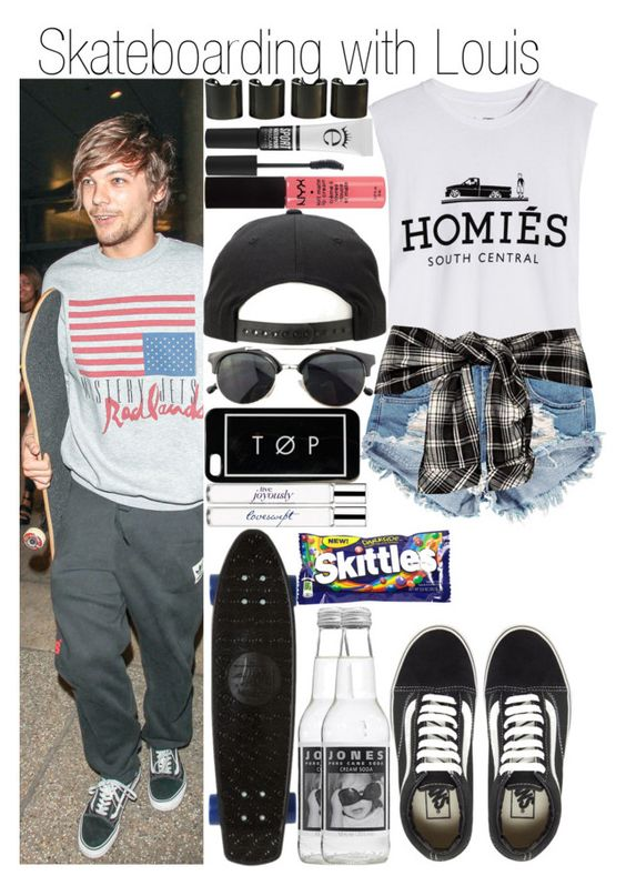 """Skateboarding with Louis"" by fashion-onedirection ❤ liked on Polyvore featuring Vans, Brian Lichtenberg, Boohoo, Stussy, philosophy, 8 Other Reasons, Eyeko, NYX, Chicnova Fashion and River Island"