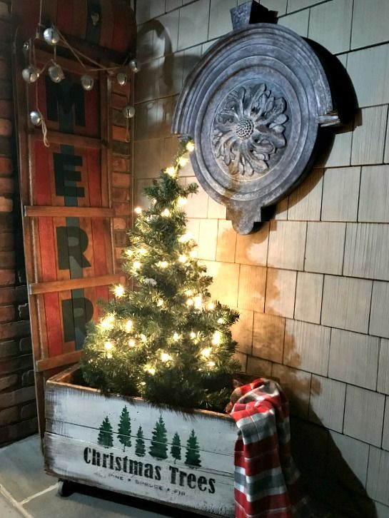 Antique Stenciled Christmas Tree Crate Christmas Tree Box Antique Christmas Tree Christmas Tree