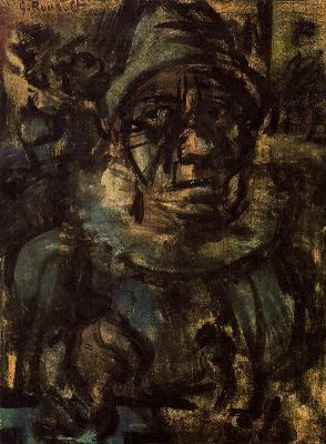 Head of a Tragic Clown-1904. Watercolor, pastel and gouache on paper. 37 x 26,5 cm. Kunsthaus Zürich.