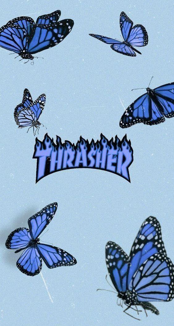 Pin Em Fond D Ecran Iphone Pastel Blue butterfly wallpaper aesthetic