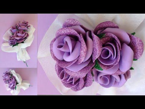 أسهل طريقه لعمل ورده بلدى بالفوم هديه عيد الأم أجمل بوكيه ورد بالفوم بأسهل طريقه Youtube Paper Flowers Foam Flowers Foam Crafts