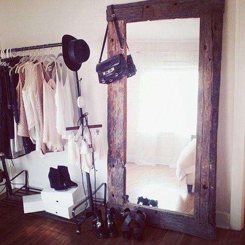 vintage mirror + garment rack