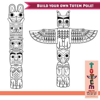 Totem Pole Clip Art Set Of The Pacific Northwest By Christine O Brien Creative Teachers Pay Teachers Totem Pole Totem Pole Art Totem Pole Drawing