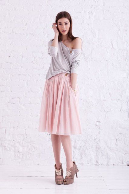 Slouchy T & skirt